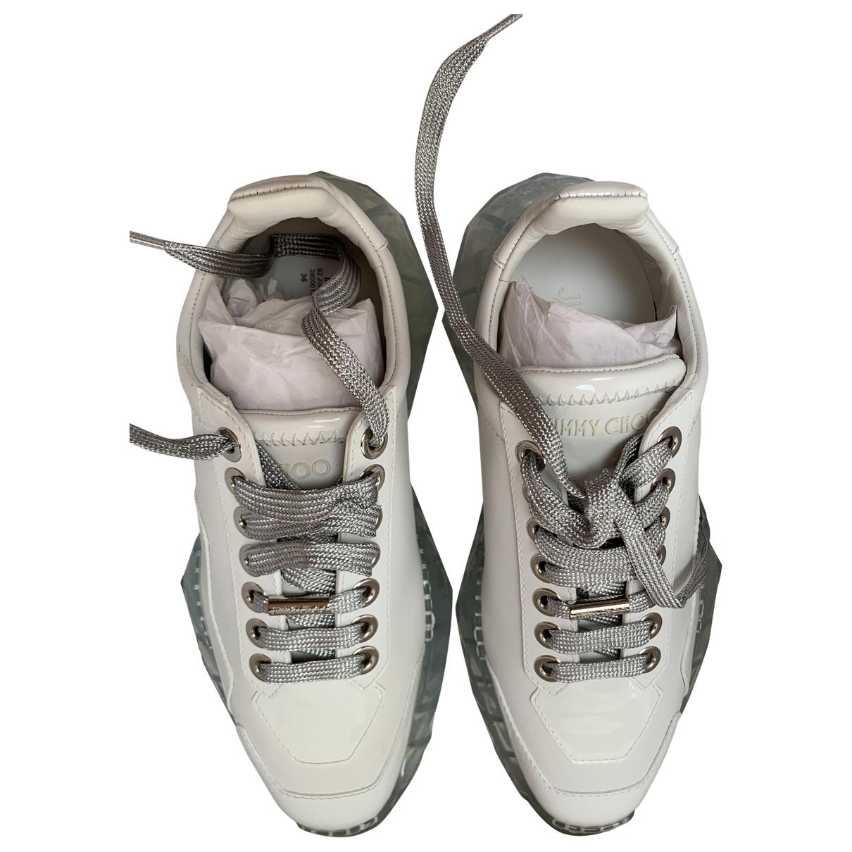 Jimmy Choo Diamond Sneakers in  Weiss Lackleder