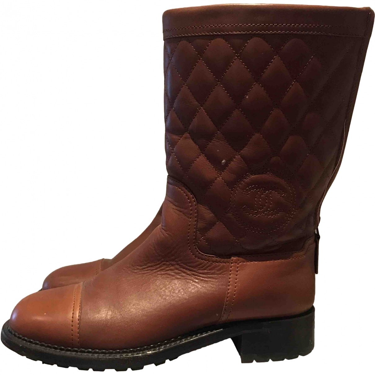 Chanel \N Brown Leather Boots for Women 38 EU