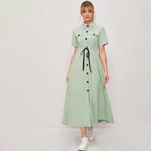 Solid Drawstring Waist Shirt Dress