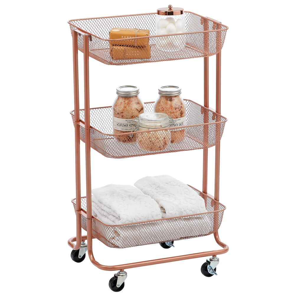 Metal 3-Tier Rolling Household Storage Cart with 4 Caster Wheels in Rose Gold, 18.8