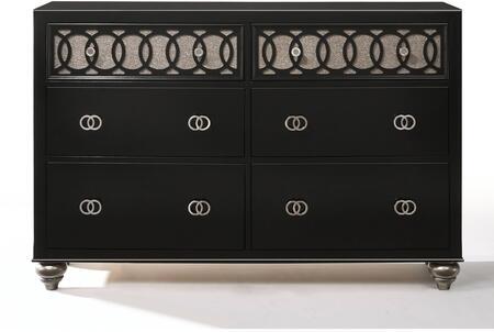 Ulrik Collection 27075 59 Dresser with 6 Manual Close Drawers  Raised Geometric Inlay  Bun Feet  Nickel Brushed Metal Hardware and Engineered Wood