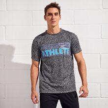 Sports T-Shirt mit Space Dye und Buchstaben Grafik