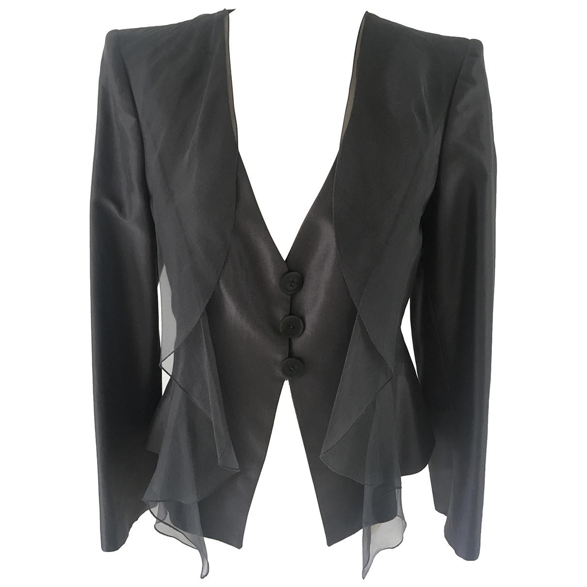 Giorgio Armani - Veste   pour femme en soie - anthracite