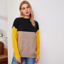 Drop Shoulder Colorblock Sweater