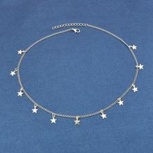 Silver Five-Star Pendant Simple Necklace