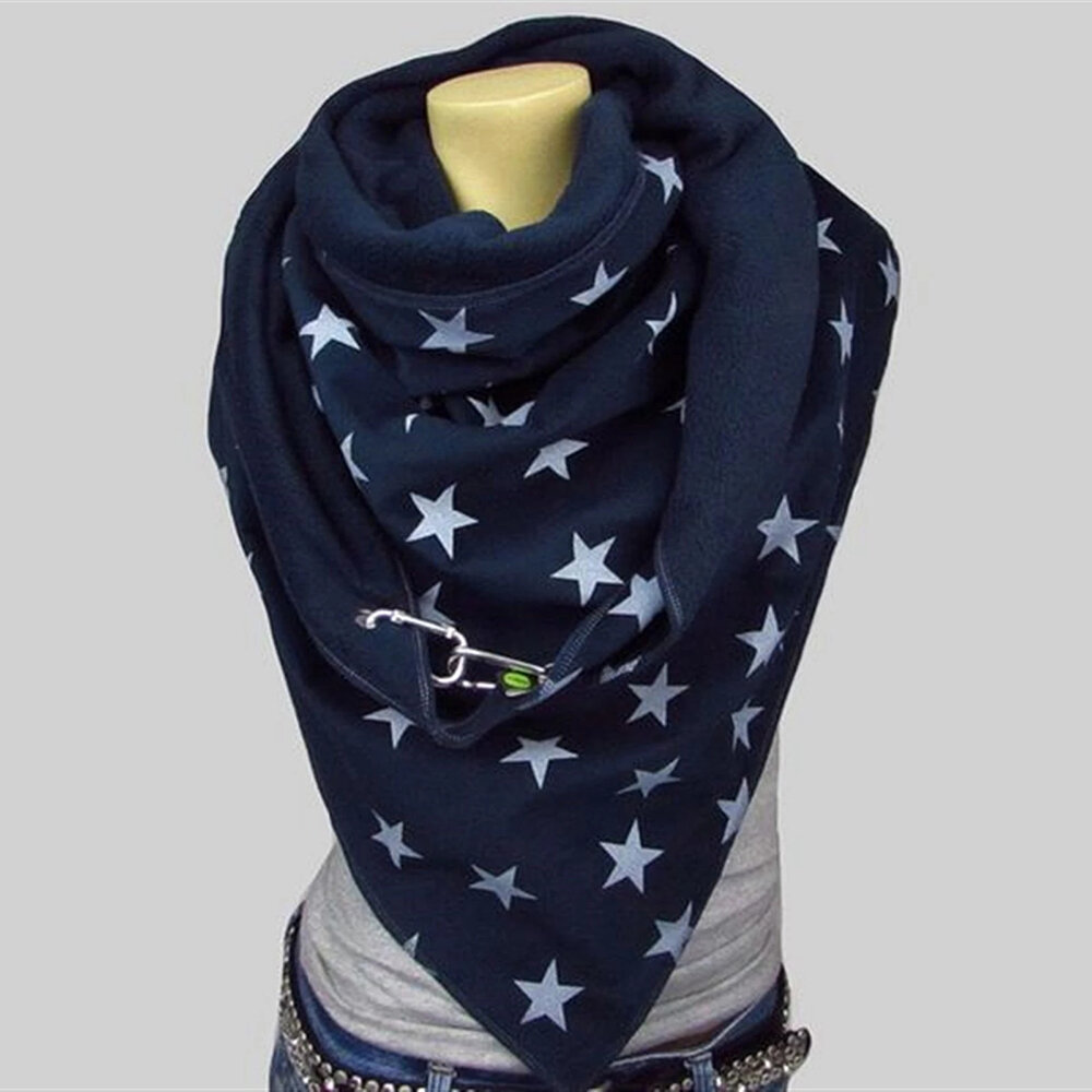 Women Five-pointed Star Pattern All-match Thick Warmth Shawl Printed Scarf