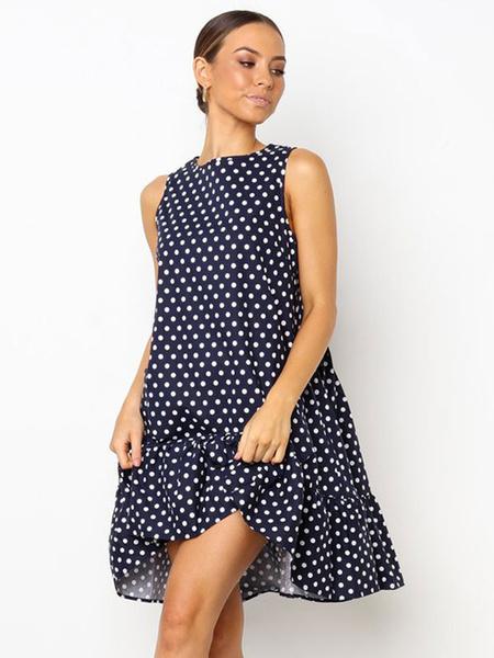 Milanoo Summer Dresses 2020 Polka Dot Oversized Shift Dress Women Sundress