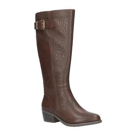 Easy Street Womens Arwen Booties Block Heel, 10 Wide, Brown