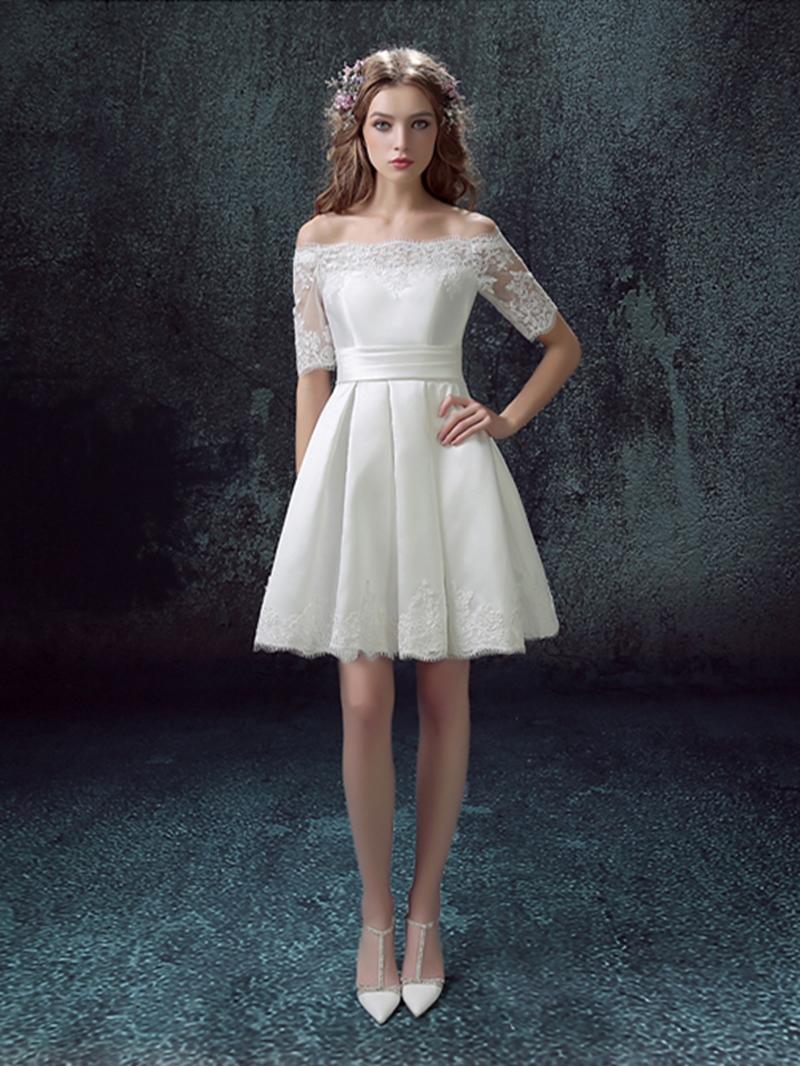 Ericdress Off the Shoulder Half Sleeve Homecoming Dress