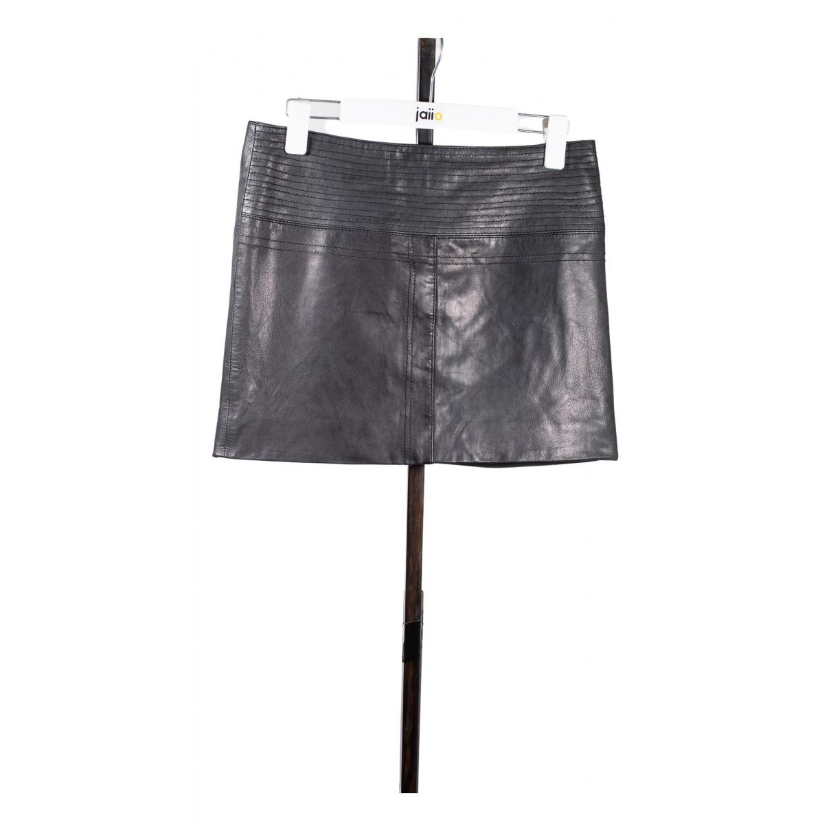 Virginie Castaway - Jupe   pour femme en cuir - noir