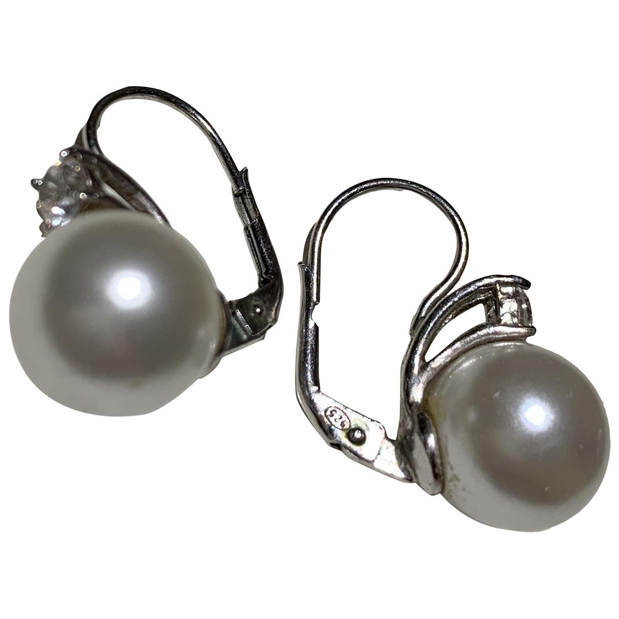 Non Signé / Unsigned Dormeuses White Silver Earrings for Women \N