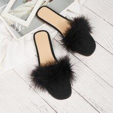 Sandalen mit Kunstpelz Dekor