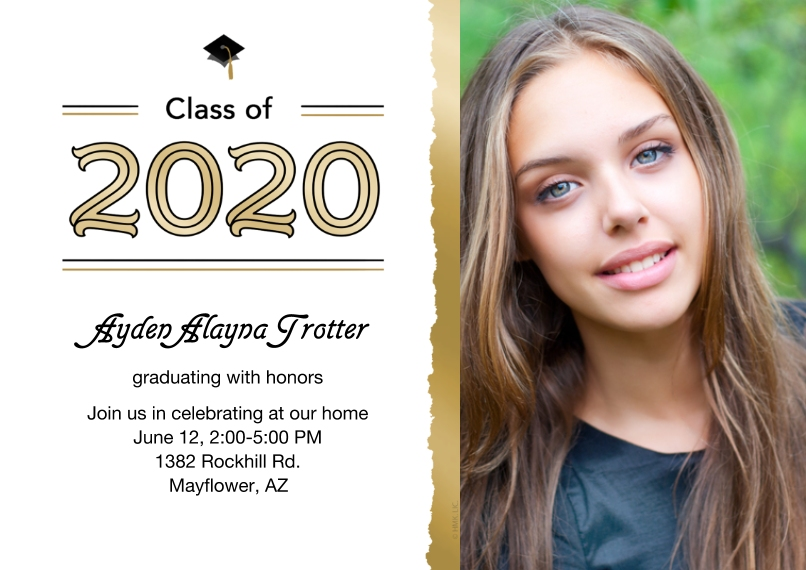 Party Invitations 5x7 Cards, Standard Cardstock 85lb, Card & Stationery -Class of 2020 Frayed Photo Invitation by Hallmark