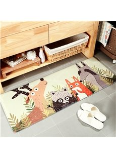 Water Absorption Anti-Slip Cartoon Style Flannel Machine Made Area Rug