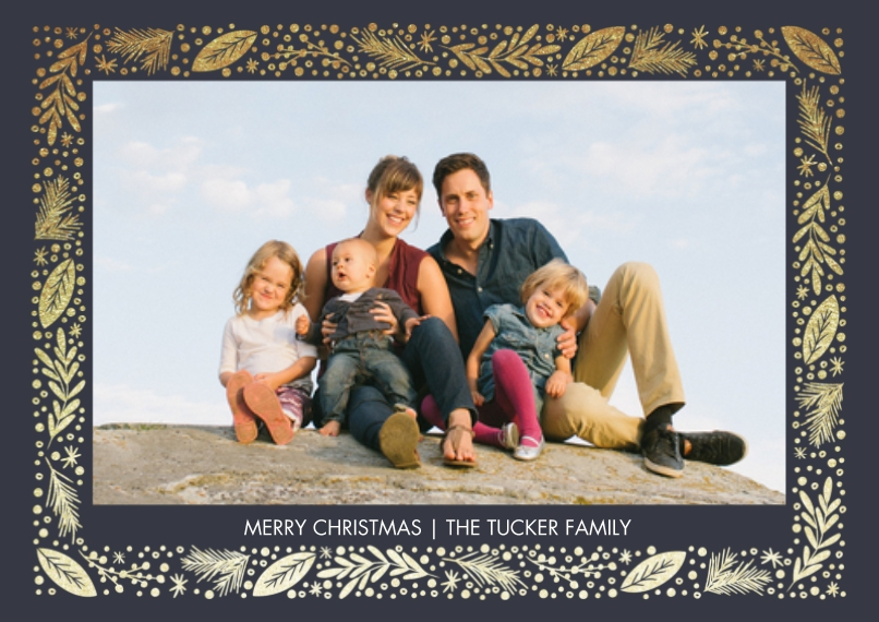 Christmas Photo Cards 5x7 Cards, Premium Cardstock 120lb with Elegant Corners, Card & Stationery -Gilded Border