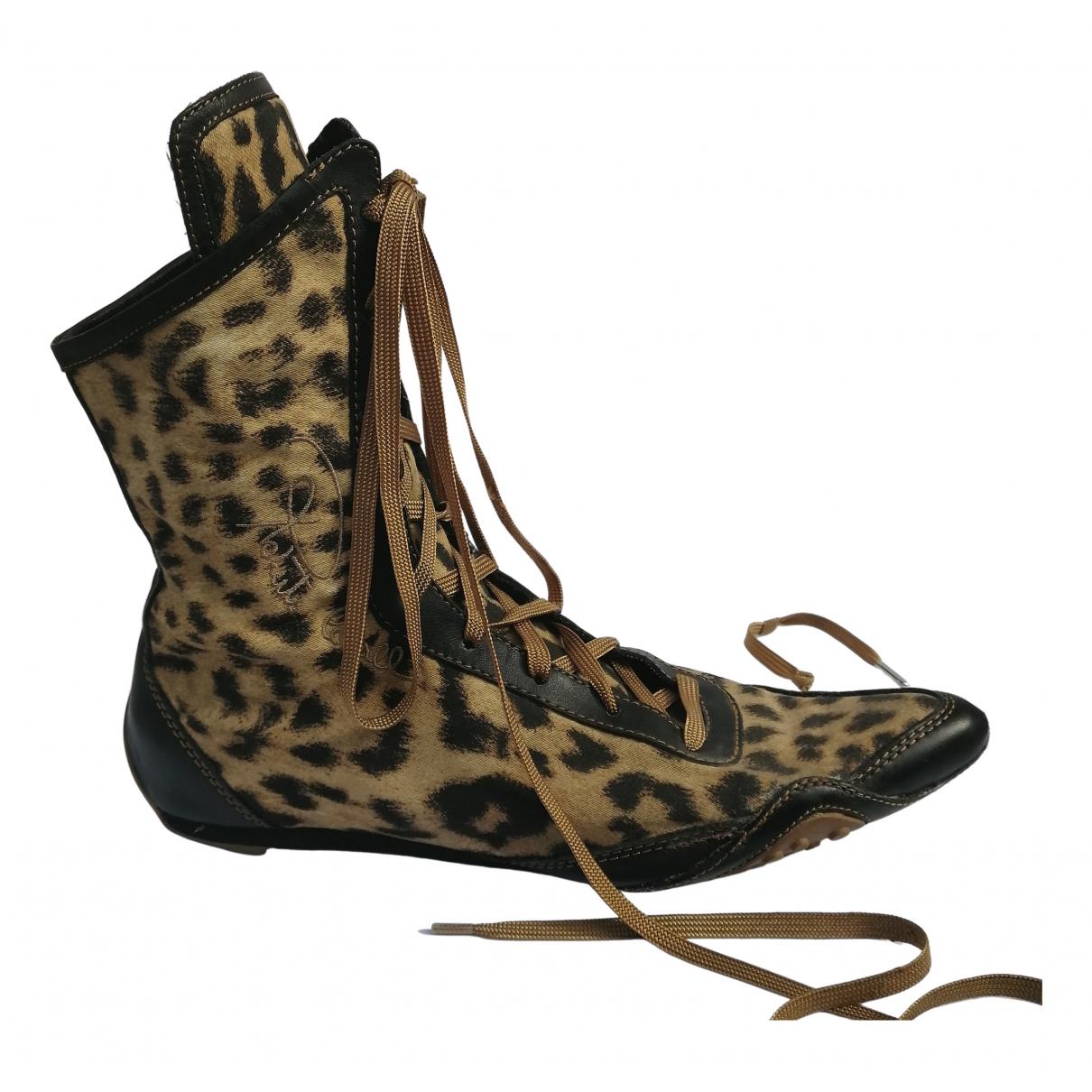 Roberto Cavalli - Boots   pour femme en cuir - marron