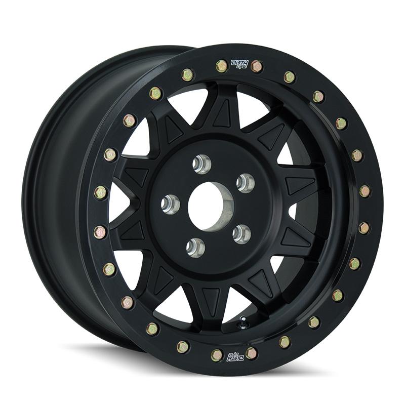 Dirty Life Roadkill Race 9302 Matte Black | Black Beadlock 15X7 4-156 13mm 115.1mm Wheel