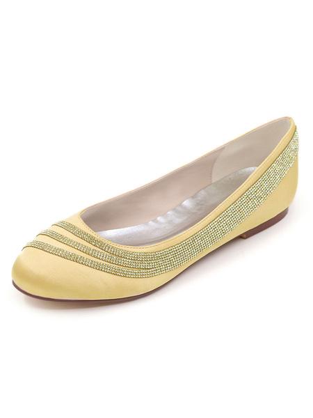 Milanoo Wedding Shoes Ivory Satin Rhinestones Round Toe Flat Bridal Shoes