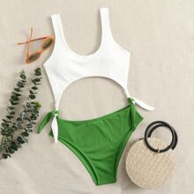 Two Tone Rib Cut-out One Piece Swimsuit