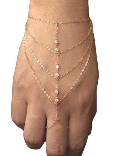 Milanoo Gold Ring Bracelet Rhinestone Metal Layered Bracelet for Women
