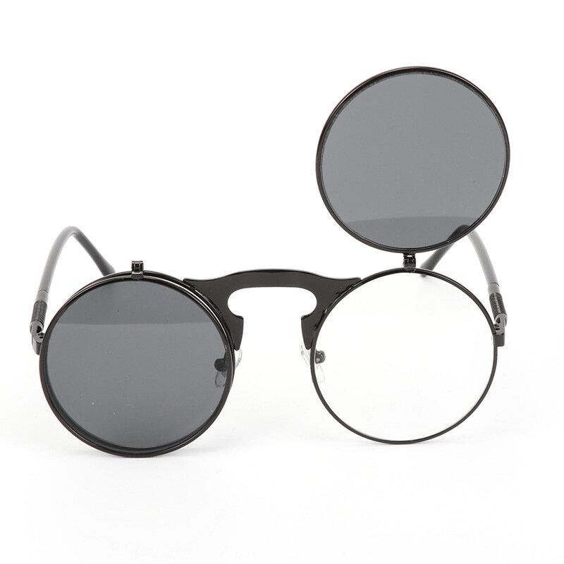 Men Women Retro Anti-UV400 Sunglasses Retro Steampunk Round Mirror Flip Cover Lens Glasses