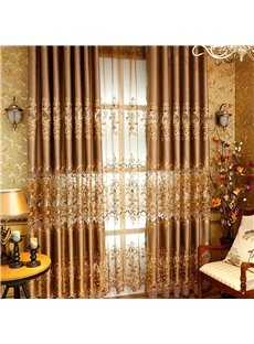 Nobel and Elegant European Style High Quality Chenille Hollowed-out Embroidered Damask Curtain
