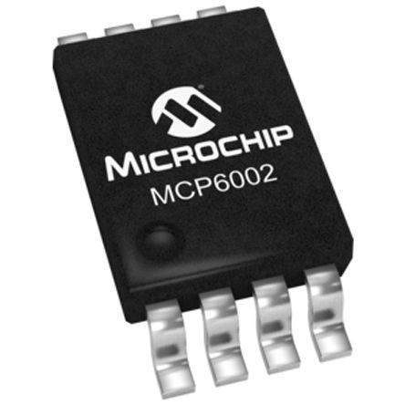 Microchip MCP6002-I/MS , Op Amp, RRIO, 1MHz, 3 V, 5 V, 8-Pin MSOP (10)