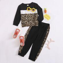 Outfits dos piezas para niña pequeña Leopardo Deportivo