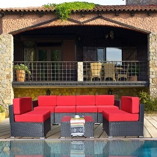 Mcombo Patio Furniture Sectional Set Outdoor Wicker Sofa 6082-1007 (Red)