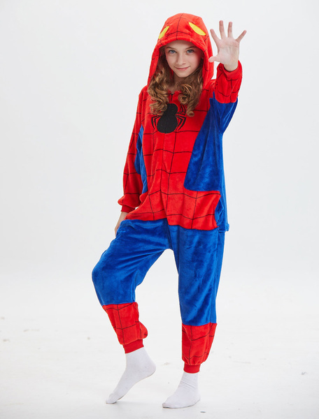 Milanoo Kids Spiderman Kigurumi Onesie Pajamas Red Hooded Winter Sleepwear Mascot Animal Halloween Costume