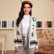 Letter & Striped Pattern Button Up Cardigan