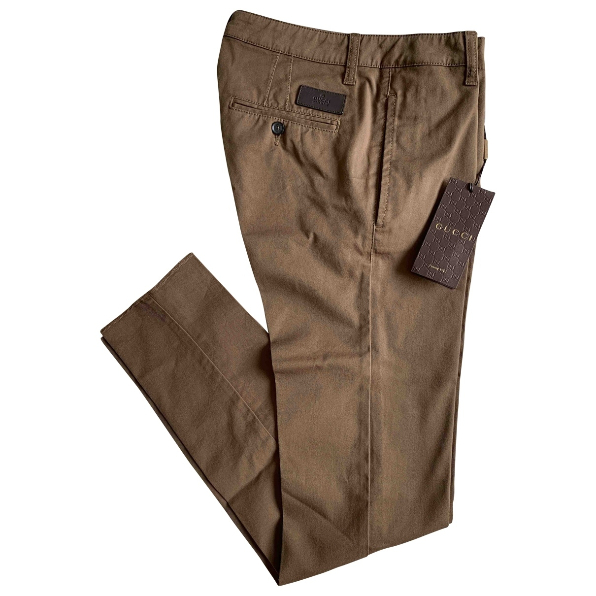 Gucci \N Beige Cotton Trousers for Women 36 FR