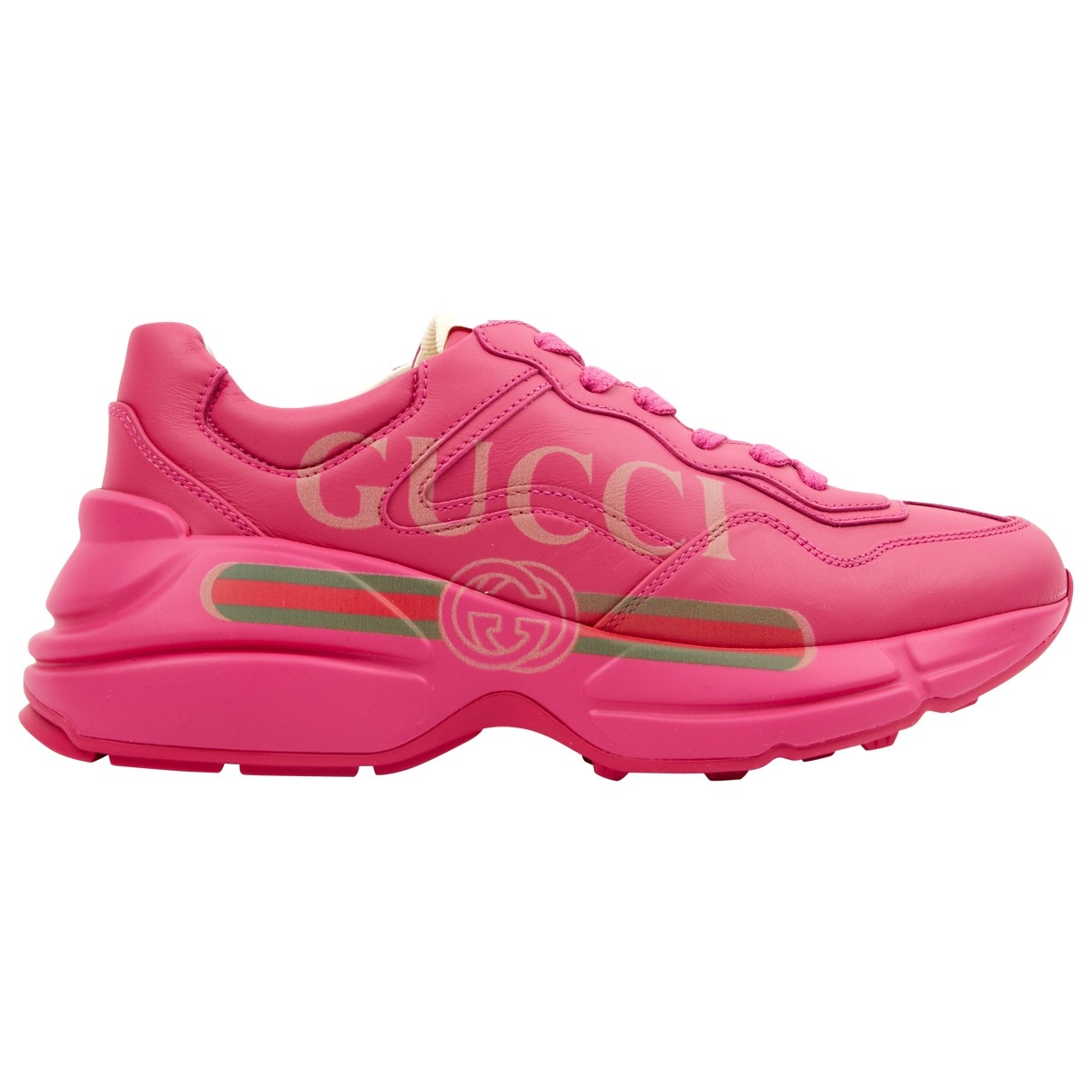 Gucci Rhyton Pink Leather Trainers for Women 37.5 EU