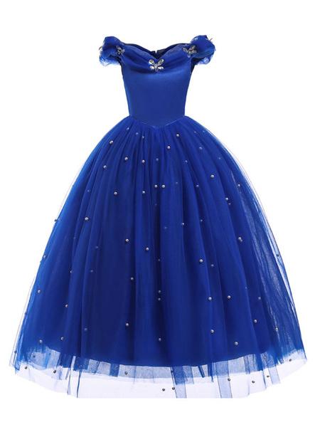 Milanoo Cinderella Dresses Little Girls Royal Blue Flower Girl Dress Princess Beaded Kids Pageant Party Dress