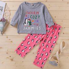 Toddler Girls Cartoon And Slogan Graphic PJ Set