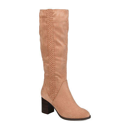 Journee Collection Womens Gentri Boots Stacked Heel Over the Knee, 12 Medium, Pink