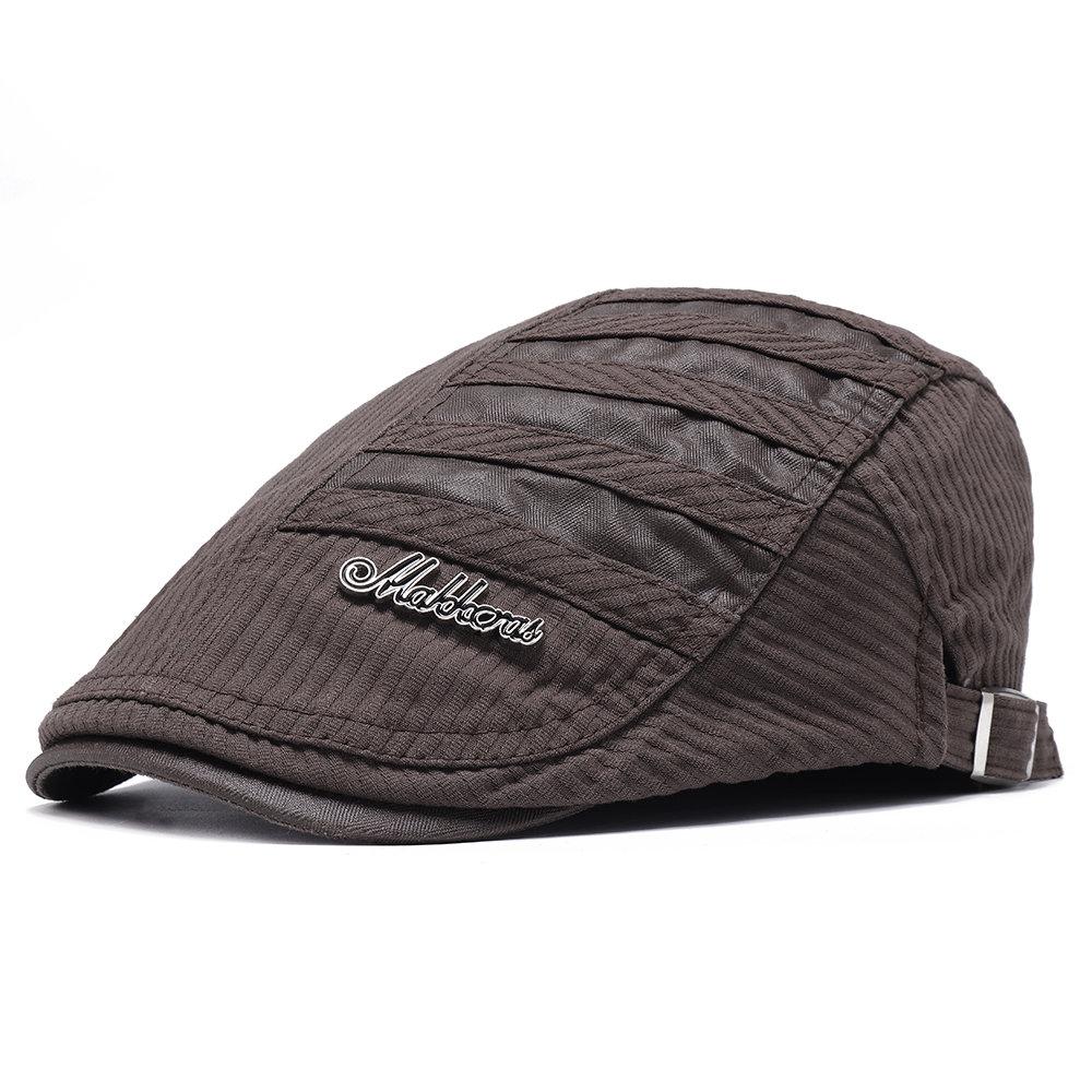 Men Winter Stripe Adjustable Cotton Warm Breathable Comfortable Vintage Sun Beret Cap