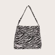 Zebra Pattern Canvas Tote Bag