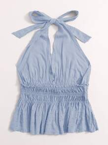 Tie Back Shirred Waist Swiss Dot Peplum Top