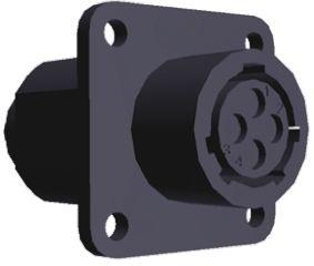 TE Connectivity Connector, 4 contacts Panel Mount Socket, Crimp