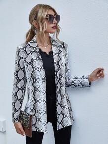 Snakeskin Print Single Button Blazer