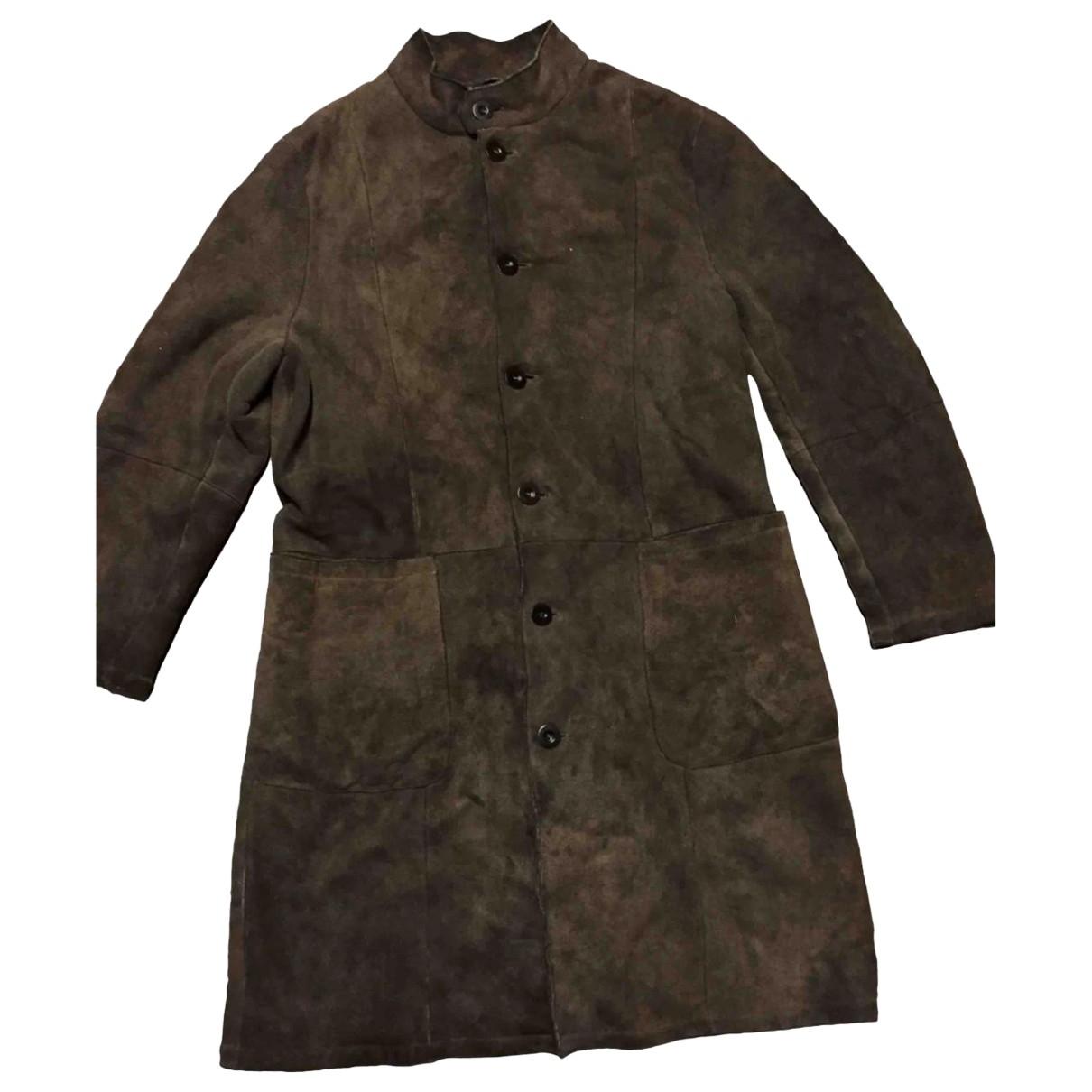 Giorgio Armani - Manteau   pour homme en mouton - marron