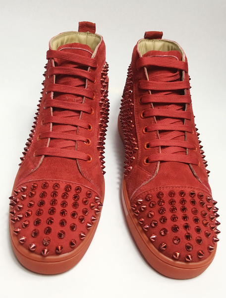 Milanoo Red Skate Shoes 2020 Mens Spike Shoes Suede Round Toe Lace Up High Top Sneakers