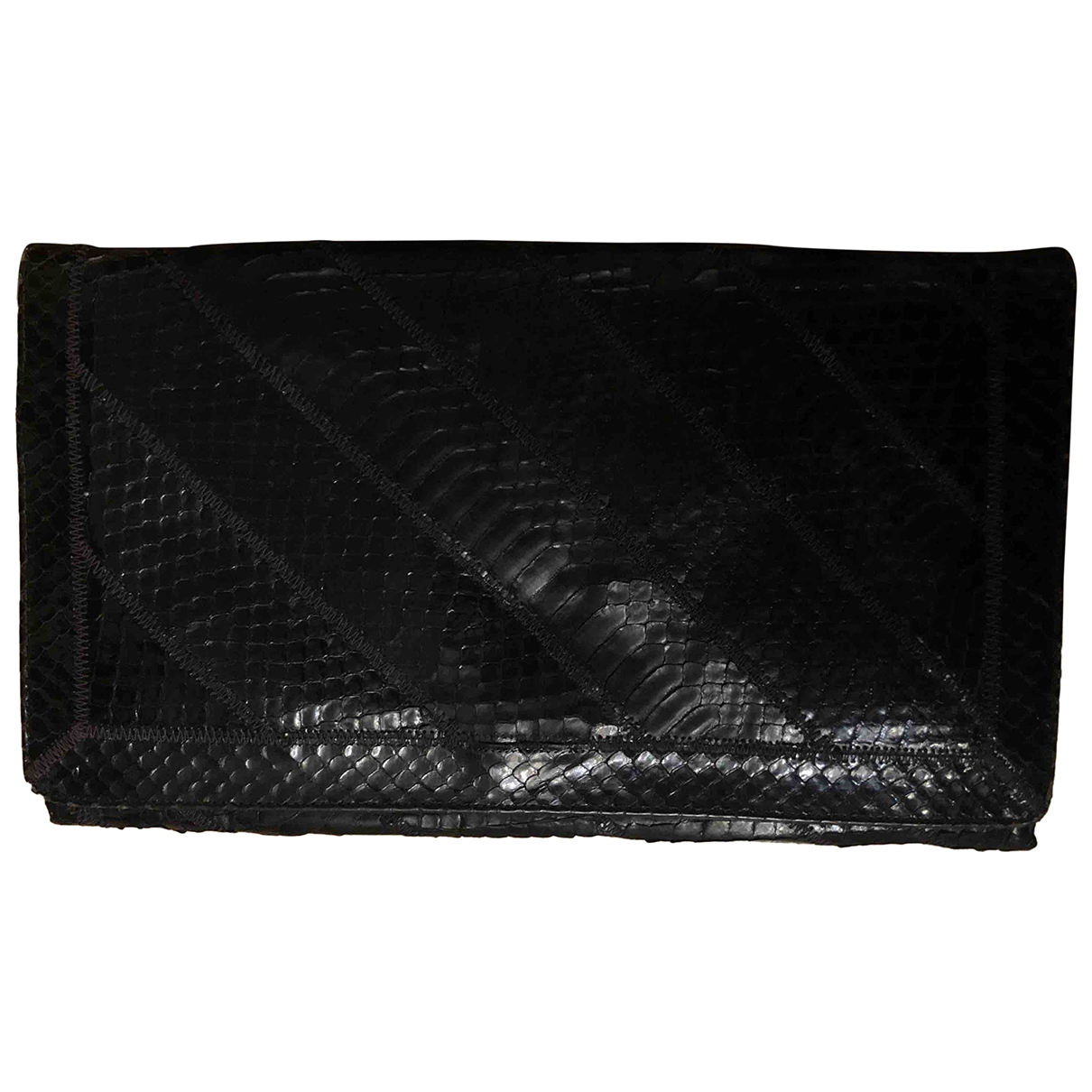 Non Signé / Unsigned \N Black Python Clutch bag for Women \N