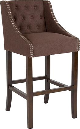 Carmel Collection CH-182020-T-30-BN-F-GG Bar Height Stool with Nailhead Trimmed Curved Arms  Button Tufted Back  Floor Protector Glides  Walnut Wood