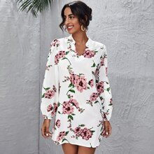 Kleid mit eingekerbtem Kragen und Blumen Muster