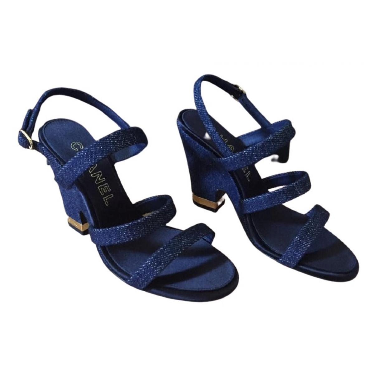 Chanel - Sandales   pour femme en toile - bleu