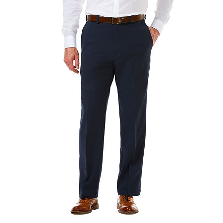 Haggar Cool 18 Pro Flat Front Pant, 34 34, Blue