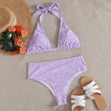 Calico Print Triangle Halter Bikini Swimsuit