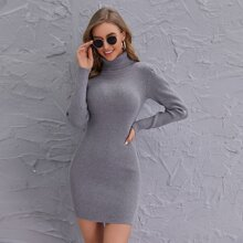 Funnel Neck Solid Bodycon Sweater Dress